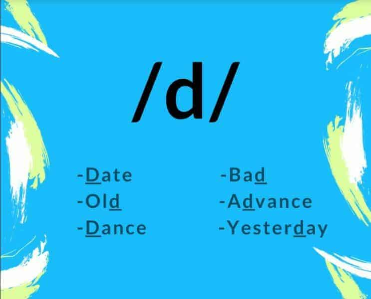 d sound words English phonetics date old dance bad advance yesterday