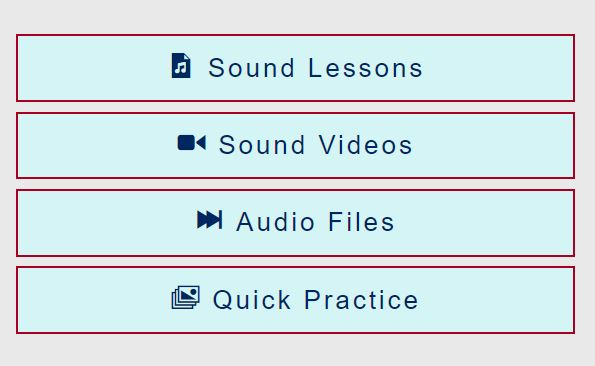 phonetic sound menu light blue background lessons videos audio link to page