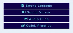 phonetic sound menu blue background lessons videos audio link to page