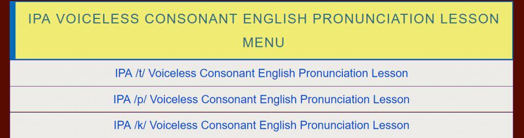 IPA Voiceless Consonant Lesson Menu Link