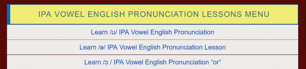 IPA Vowel Lesson Menu LInk