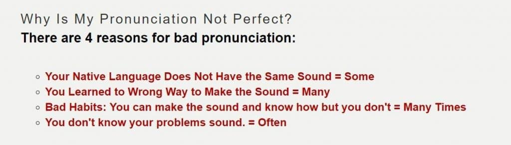 evaluation 4 reasons for bad pronunciation